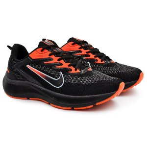 Tênis Masculino Caminhada Esportivo Nike Zoom Winflo 7- Preto/Laranja
