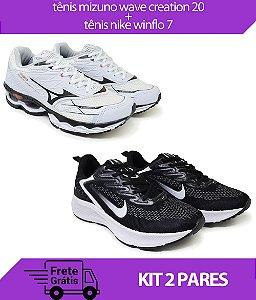 Kit 2 Pares - Tênis Nike Winflo 7 Preto/Branco + Tênis Mizuno Wave Creation 20 Branco