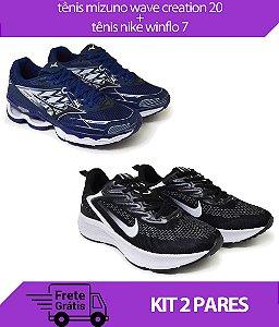Kit 2 Pares - Tênis Nike Winflo 7 Preto/Branco + Tênis Mizuno Wave Creation 20 Marinho
