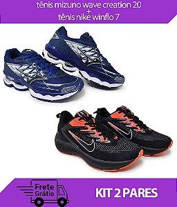 Kit 2 Pares - Tênis Nike Winflo 7 Preto/Laranja+ Tênis Mizuno Wave Creation 20 Marinho