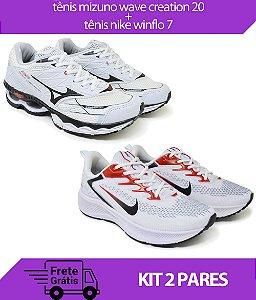 Kit 2 Pares - Tênis Nike Winflo 7 Branco + Tênis Mizuno Wave Creation 20 Branco
