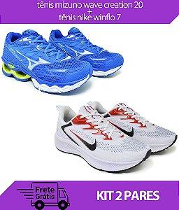 Kit 2 Pares - Tênis Nike Winflo 7 Branco + Tênis Mizuno Wave Creation 20 Azul