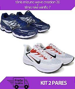 Kit 2 Pares - Tênis Nike Winflo 7 Branco + Tênis Mizuno Wave Creation 20 Marinho