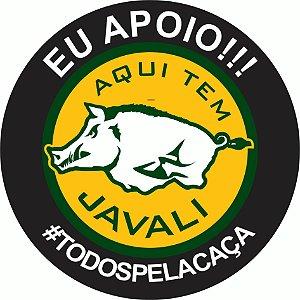 ADESIVO AQUI TEM JAVALI #TODOSPELACAÇA 16x16cm