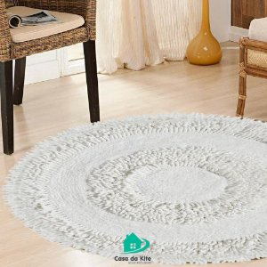 Tapete Redondo Decorativo Bombaim Branco 60cm
