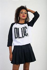 Camiseta Raglã DLDC Preto e Branco