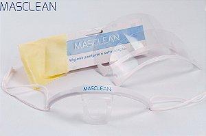Máscara de Proteção Salivar Transparente Reusável e Lavável Gra´tis 1 Refil Masclean