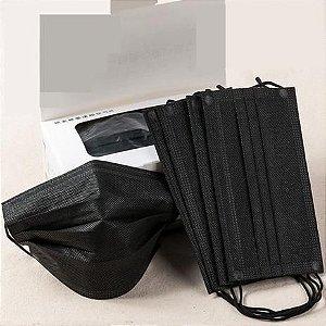 Máscara de Proteção Tripla TNT Preta Caixa com 50 Unidades