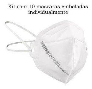 Kit com 10 Mascaras De Proteção Respirador Pff2 N95 Sem Válvula Mill