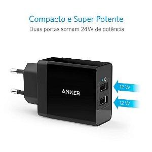 Carregador de Tomada PowerPort 24w 2 portas USB - Anker