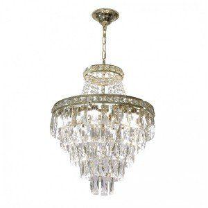 Lustre Cascata de Cristal LED Florença Dourado - Startec
