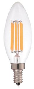 LÂMPADA LED VELA FILAMENTO 2W 2700K 127V E14 CLEAR FINISH