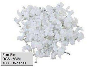 Fixa Fio RG6 Branco 8mm (Preço por Mil = 10 Pacotes de 100 Fixa-Fio)