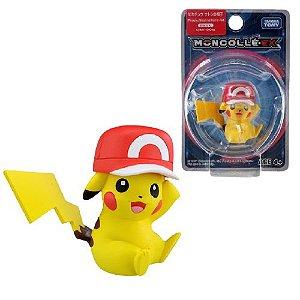 Pikachu Satoshi Hat Figure colecionável Pokémon Moncolle-ex - Original Takara Tomy