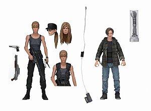 Pack 2 Action Figures Sarah e John Connor Exterminador do Futuro Dia do Julgamento - Neca