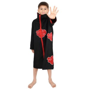 Cosplay Itachi Uchiha Akatsuki Completo Infantil - Naruto Shippuden