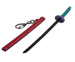 Chaveiro Espada Katana em Metal fundido Demon Slayer 18 Cm - Kimetsu No Yaiba