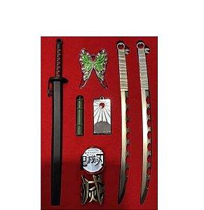 Kit com 8 Chaveiros Metal Demon Slayer - Kimetsu No Yaiba