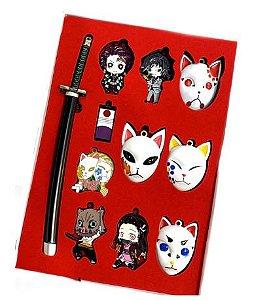 Kit com 11 Chaveiros Metal Demon Slayer - Kimetsu No Yaiba