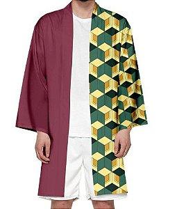 Kimono Giyu Tomioka Demon Slayer Kimetsu No Yaiba - Adulto