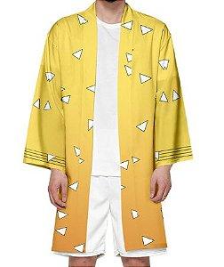 Kimono Zenitsu Agatsuma Demon Slayer Kimetsu No Yaiba - Infantil