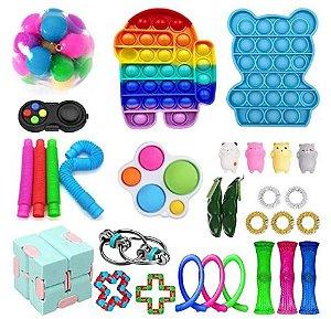 Kit com 30 peças Push Pop Bubble Sensory Fidget Toy Anti Stress I - Alta qualidade