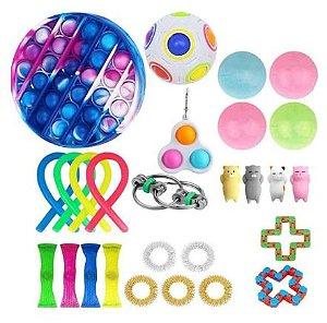 Kit com 27 peças Push Pop Bubble Sensory Fidget Toy Anti Stress I - Alta qualidade