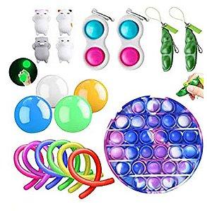 Kit com 19 peças Push Pop Bubble Sensory Fidget Toy Anti Stress I - Alta qualidade