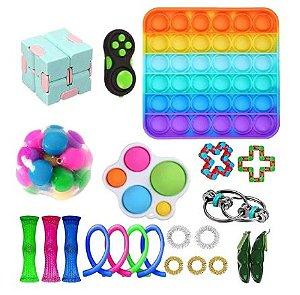 Kit com 22 peças Push Pop Bubble Sensory Fidget Toy Anti Stress V - Alta qualidade