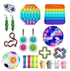 Kit com 20 peças Push Pop Bubble Sensory Fidget Toy Anti Stress III - Alta qualidade