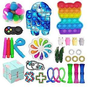 Kit com 30 peças Push Pop Bubble Sensory Fidget Toy Anti Stress V - Alta qualidade