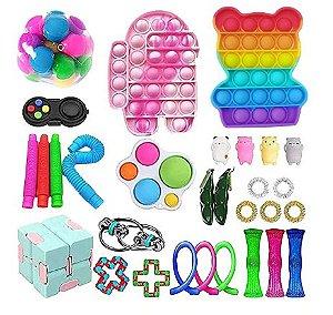 Kit com 30 peças Push Pop Bubble Sensory Fidget Toy Anti Stress VI - Alta qualidade