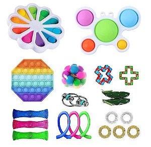 Kit com 20 peças Push Pop Bubble Sensory Fidget Toy Anti Stress IV - Alta qualidade
