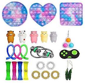 Kit com 24 peças Push Pop Bubble Sensory Fidget Toy Anti Stress IV - Alta qualidade