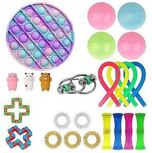 Kit com 24 peças Push Pop Bubble Sensory Fidget Toy Anti Stress V - Alta qualidade