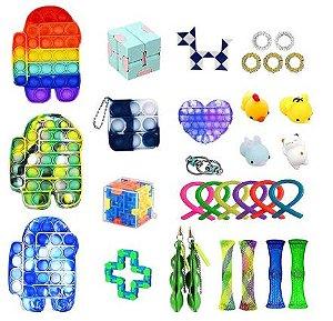 Kit com 31 peças Push Pop Bubble Sensory Fidget Toy Anti Stress II - Alta qualidade