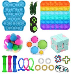 Kit com 22 peças Push Pop Bubble Sensory Fidget Toy Anti Stress IX - Alta qualidade