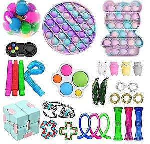 Kit com 30 peças Push Pop Bubble Sensory Fidget Toy Anti Stress VII - Alta qualidade