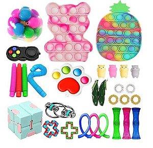 Kit com 30 peças Push Pop Bubble Sensory Fidget Toy Anti Stress IX - Alta qualidade