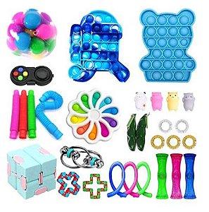 Kit com 30 peças Push Pop Bubble Sensory Fidget Toy Anti Stress XII - Alta qualidade