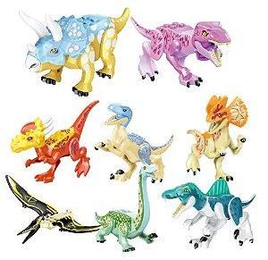 Kit com 8 Dinossauros Jurassic Park Modelo 2 - Blocos de Montar