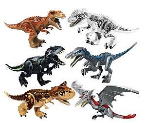 Kit com 6 Dinossauros Grandes Jurassic Park - Blocos de Montar