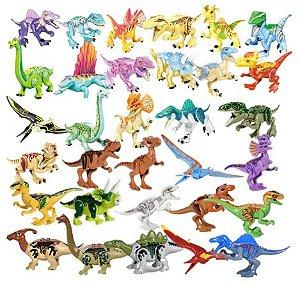 Kit com 32 Dinossauros  Pequenos Jurassic Park - Blocos de Montar