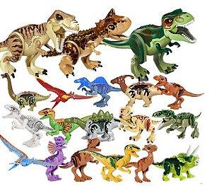 Kit com 3 Dinossauros Grandes + 16 Dinossauros  Pequenos Jurassic Park - Blocos de Montar