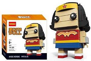Brickheadz Mulher Maravilha + 108 peças Dc Comics - Blocos de montar 9Cm x 3,5Cm x 4,5Cm