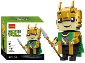 Brickheadz Loki + 137 peças Vingadores - Blocos de montar 9Cm x 3,5Cm x 4,5Cm