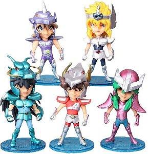 Kit com 05 Mini Estátuas Cavaleiros do Zodíacio 10Cm - Animes Geek