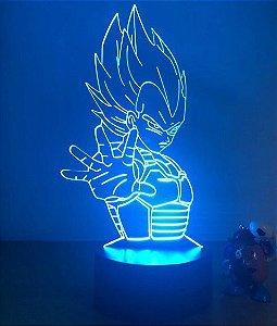 Luminária 3D Vegeta 07 Cores - Dragon Ball Z