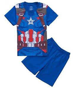 Pijama Curto Capitão América Infantil