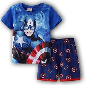Pijama Curto Capitão América Ver. 2 Infantil